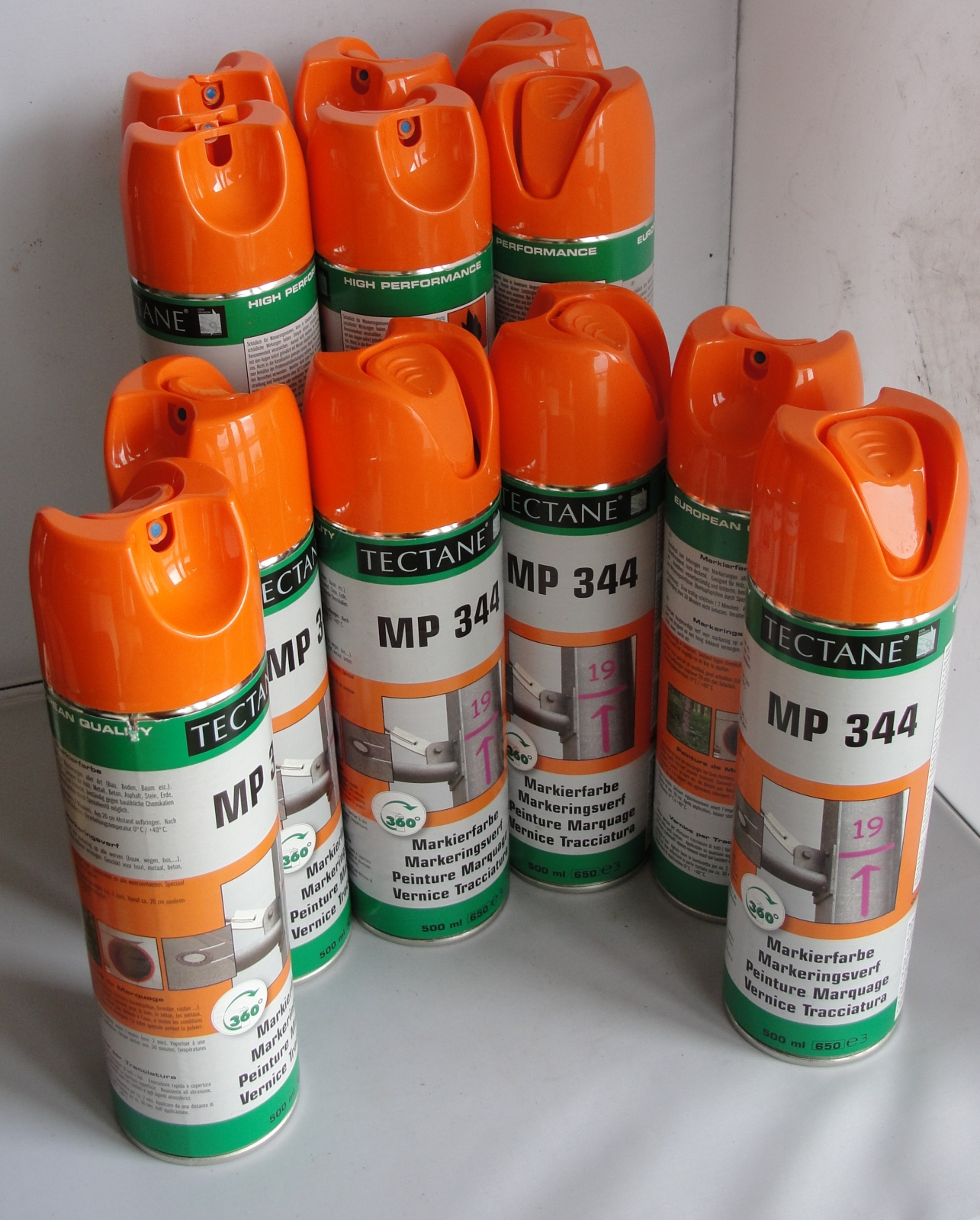 12x Tectane MP344 Markierfarbe Orange 500 ml Dosen Markierungsspray Forstfarbe